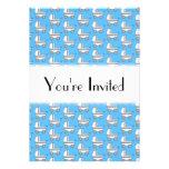 Baby Stroller Pattern on Blue. Invitations