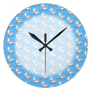 Baby Stroller Pattern on Blue. Large Clock