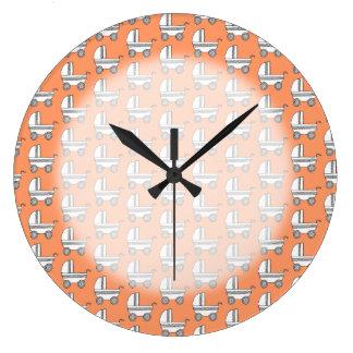 Baby Stroller Pattern on Orange. Large Clock