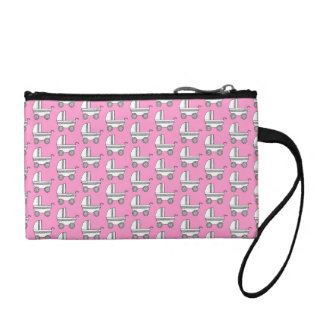 Baby Stroller Pattern on Pink. Coin Wallet