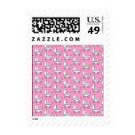 Baby Stroller Pattern on Pink. Postage Stamp