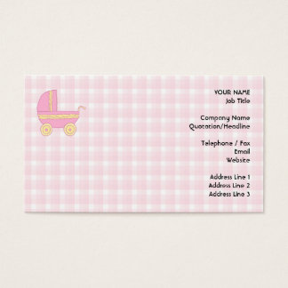 Baby Stroller. Pink and Yellow on Pink Check. Business Card