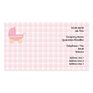 Baby Stroller. Pink and Yellow on Pink Check. Business Card Template