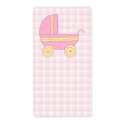 Baby Stroller. Pink and Yellow on Pink Check. Custom Shipping Labels