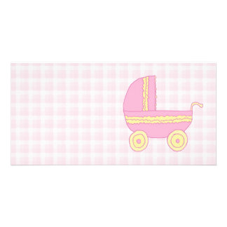Baby Stroller. Pink and Yellow on Pink Check. Photo Card
