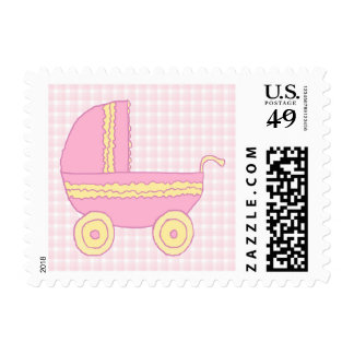Baby Stroller. Pink and Yellow on Pink Check. Postage