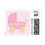 Baby Stroller. Pink and Yellow on Pink Check. Stamps