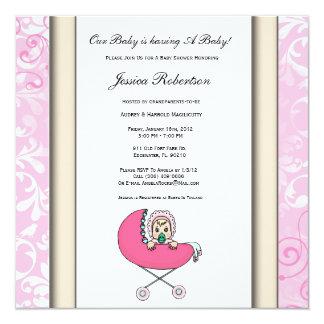 Baby Stroller Pink Baby Shower Invitation