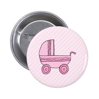 Baby Stroller. Pink on Light Pink Stripes. Button