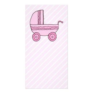Baby Stroller. Pink on Light Pink Stripes. Card