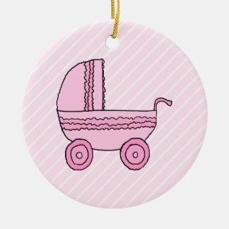 Baby Stroller. Pink on Light Pink Stripes. Ceramic Ornament