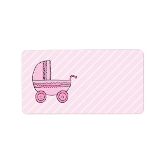 Baby Stroller. Pink on Light Pink Stripes. Label