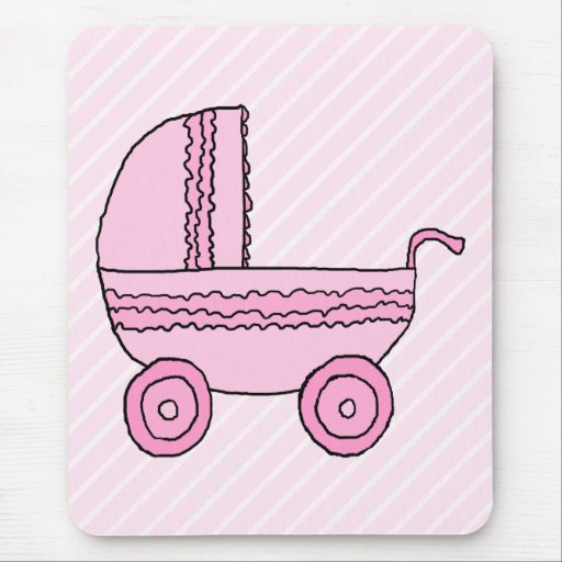 Baby Stroller. Pink on Light Pink Stripes. Mouse Pad