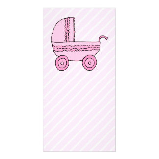 Baby Stroller. Pink on Light Pink Stripes. Photo Card