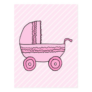 Baby Stroller. Pink on Light Pink Stripes. Postcard