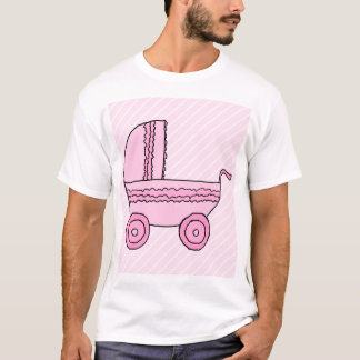 Baby Stroller. Pink on Light Pink Stripes. T-Shirt