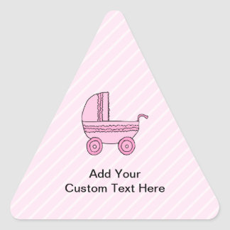Baby Stroller. Pink on Light Pink Stripes. Triangle Sticker