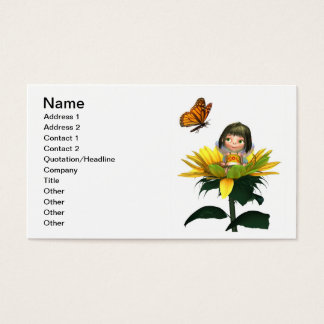 Baby Sunflower Fairy with Butterfly Business Card