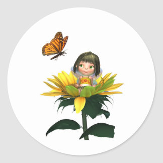 Baby Sunflower Fairy with Butterfly Classic Round Sticker