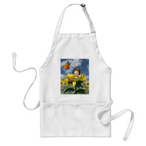 Baby Sunflower Fairy with Summer Background Adult Apron