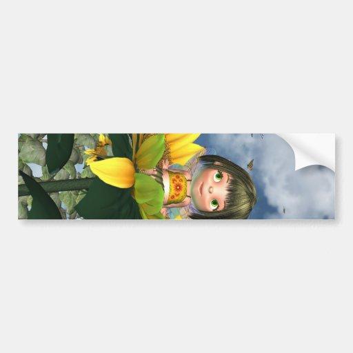 Baby Sunflower Fairy with Summer Background Bumper Sticker