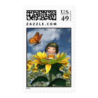 Baby Sunflower Fairy with Summer Background Postage