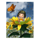 Baby Sunflower Fairy with Summer Background Postcard