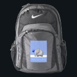 "Baby Survival Kit Cute Elephants Blue Diaper Nike Backpack<br><div class=""desc"">This beautiful fun backpack is perfect as a birth or diaper bag. It features a cute elephant which carries a bunch of heart balloons and is set against a pattern of white polka dots on blue ground. The text can be easily amended and customized to your liking. An original design...</div>"