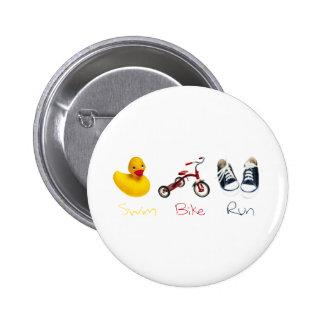 Baby Swim Bike Run Pinback Button