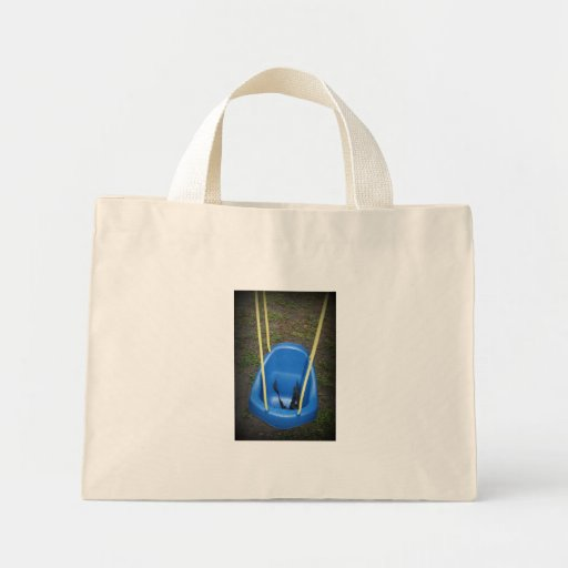 Baby swing on swingset, blue with yellow ropes canvas bag