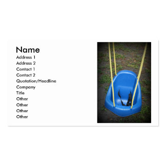 Baby swing on swingset, blue with yellow ropes business card templates