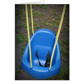 Baby swing on swingset, blue with yellow ropes greeting card