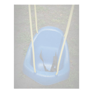 Baby swing on swingset, blue with yellow ropes customized letterhead