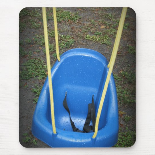 Baby swing on swingset, blue with yellow ropes mouse pad