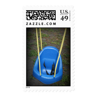 Baby swing on swingset, blue with yellow ropes stamps