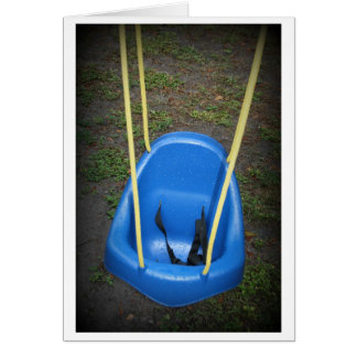 Baby swing on swingset, blue with yellow ropes stationery note card