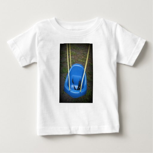 Baby swing on swingset, blue with yellow ropes tee shirt
