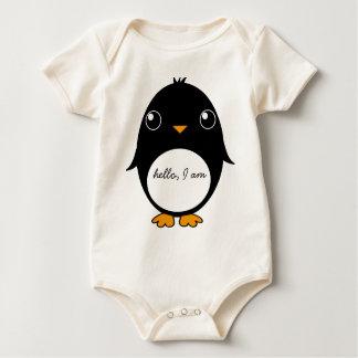 baby t-shirt penguin : hello, I am...........