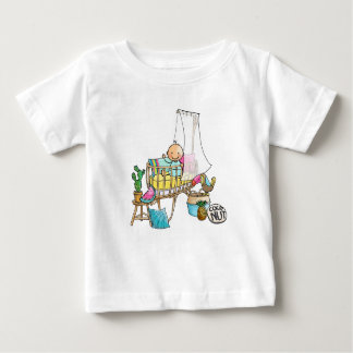 Baby t-shirt with baby in tropical cradle