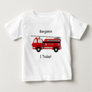 """Baby t-Shirt with Fire Truck, Name and """"1Today!"""""""