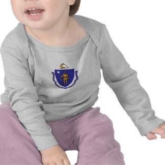 Baby T Shirt with Flag of Massachusetts