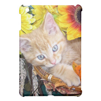 Baby Tabby Kitten Cat, Blue Eyes,Colorful Flowers iPad Mini Cases