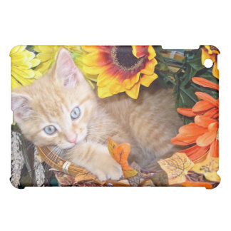 Baby Tabby Kitten Cat, Blue Eyes,Colorful Flowers Cover For The iPad Mini