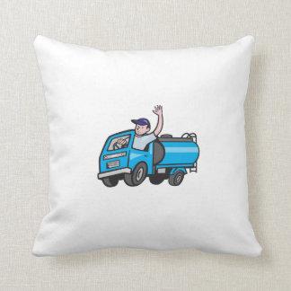 Baby Tanker Truck Driver Waving Cartoon Throw Pillow