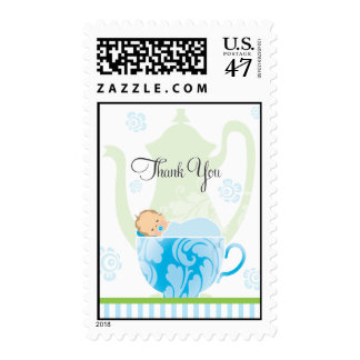 Baby Teacup Thank You Stamp  |  Blue