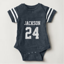 Baby Team Jersey Number and Monogram Baby Bodysuit