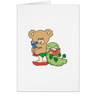 Baby Teddy Bear and Bookworm Read A Book Card