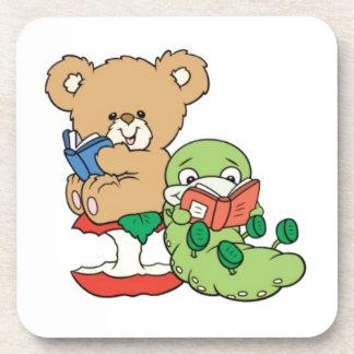 Baby Teddy Bear and Bookworm Read A Book Coaster