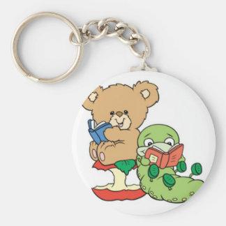 Baby Teddy Bear and Bookworm Read A Book Keychain