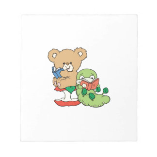 Baby Teddy Bear and Bookworm Read A Book Notepad